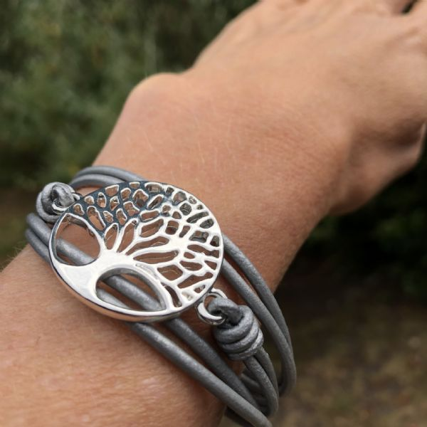 Leather bracelet - silver tree of life - grey